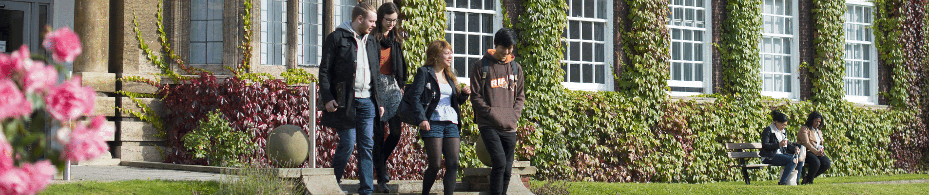 HUBS-Students-on-steps-Derwent-Exterior-Landscape-UNI-7286-Cropped-1906x401