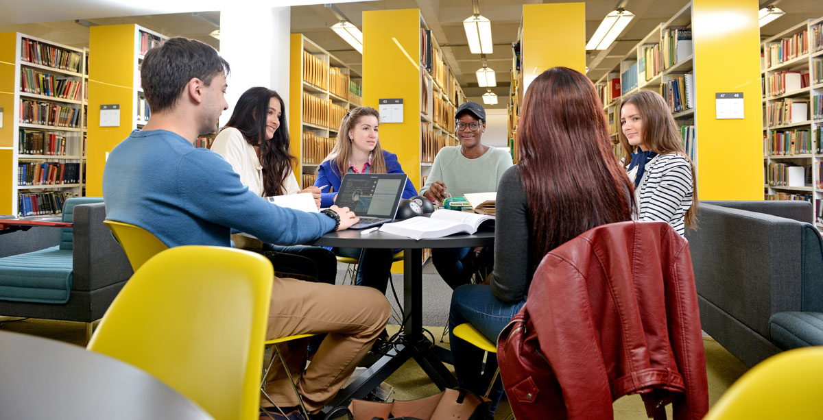 Students studying in Brynmor Jones Library