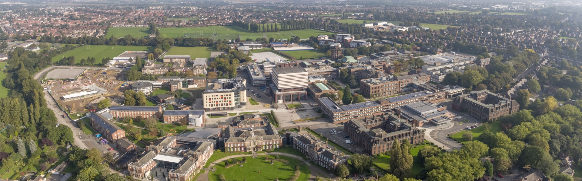 Aerial view of University of Hull campus