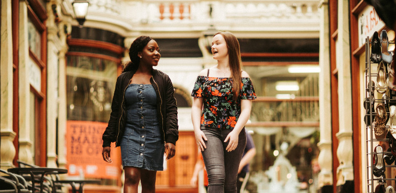 Students walking through Hepworths Arcade Hull