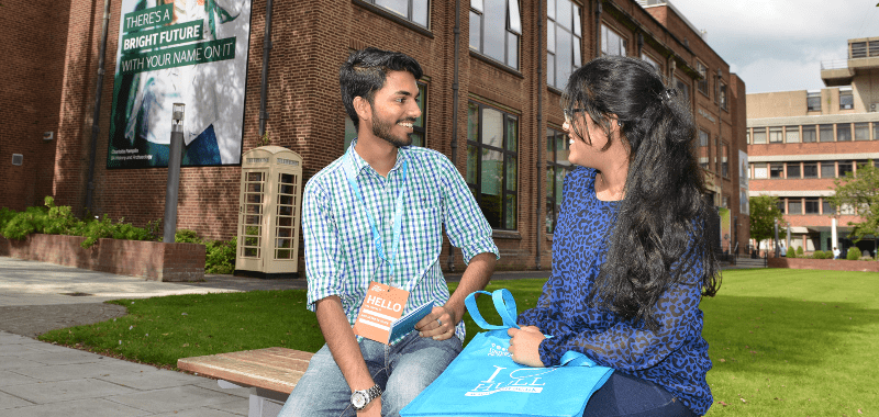 Students chatting at an open day