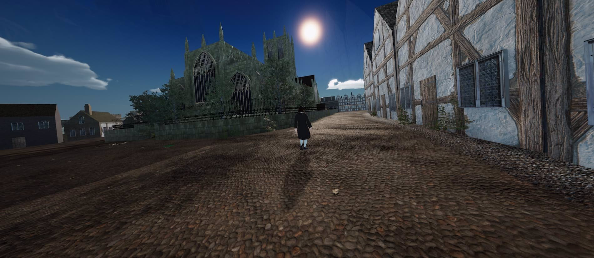 Virtual reality Andrew Marvell walking down South Church Side