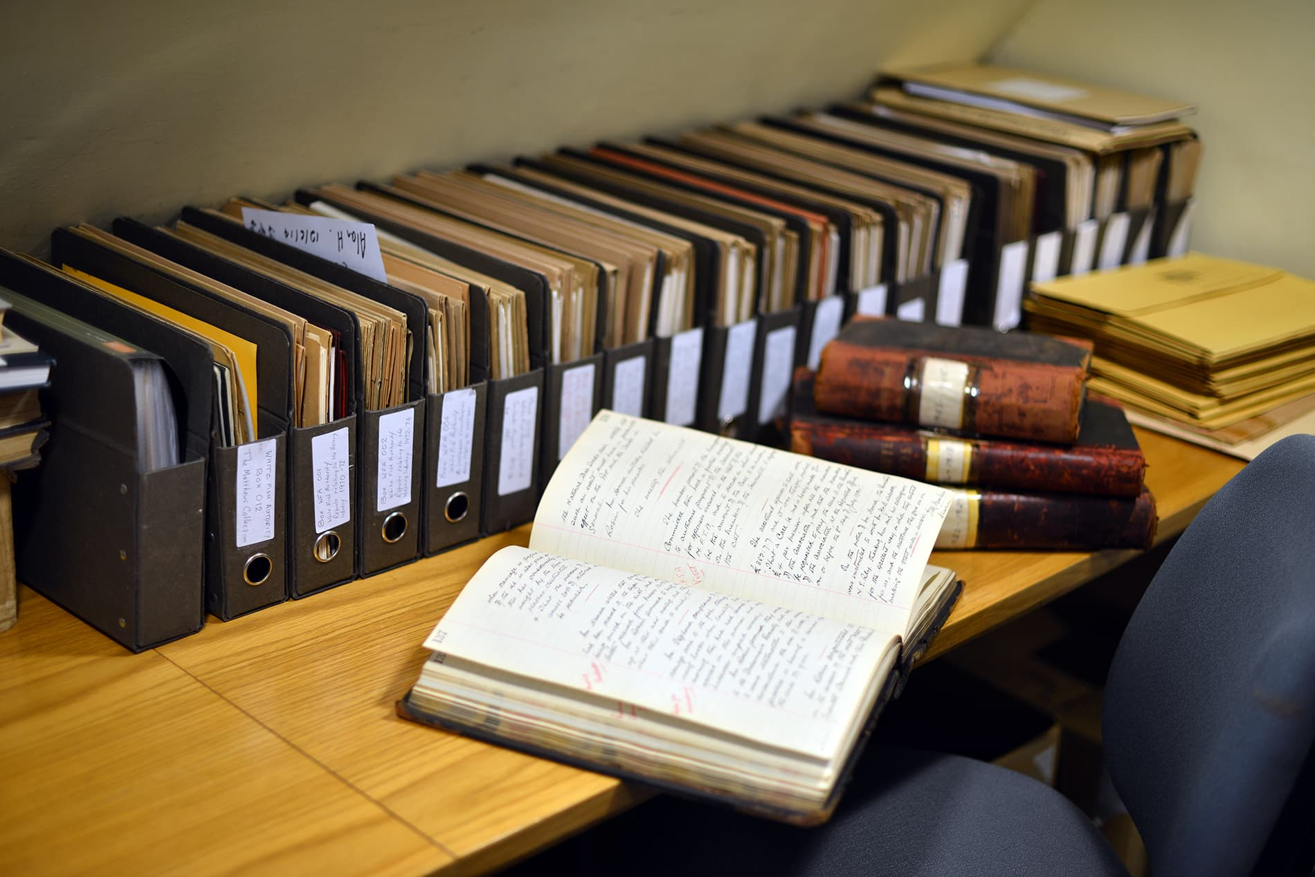 History books and volumes at Blaydes House